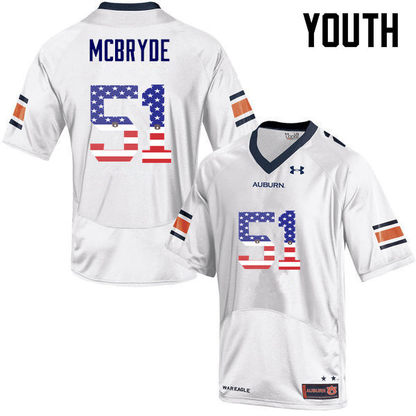 Youth #51 Richard McBryde Auburn Tigers USA Flag Fashion College Football Jerseys-White
